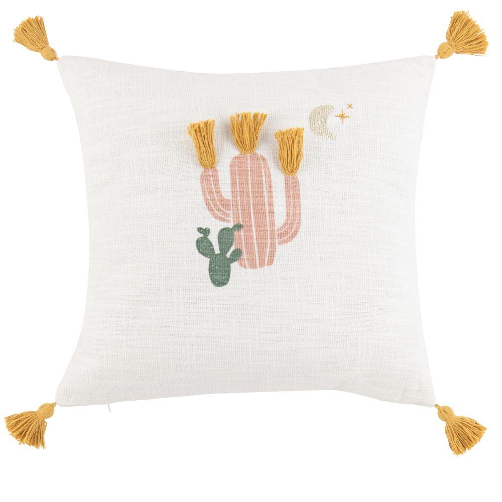 Coussin en coton imprimé cactus multicolore à pompons 40x40