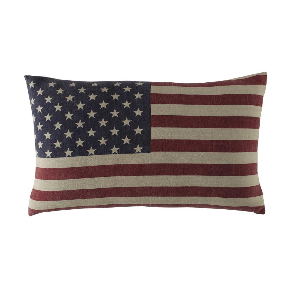 Coussin en coton imprimé drapeau américain 40x60