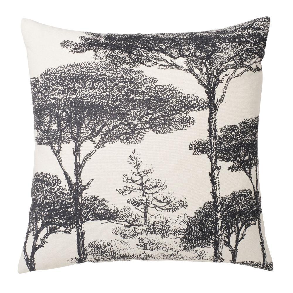 Coussin en coton lavé beige imprimé arbres bleus 45x45