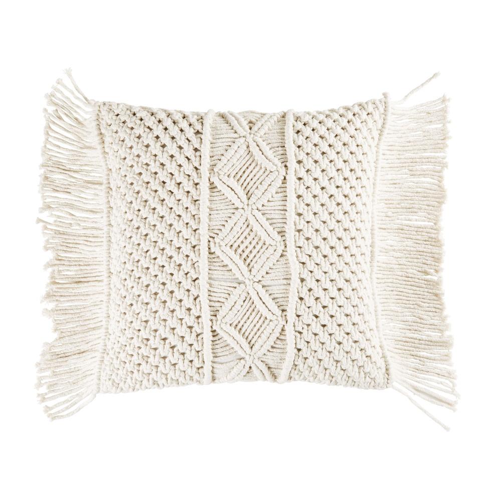 Coussin en coton macramé ivoire 45x45
