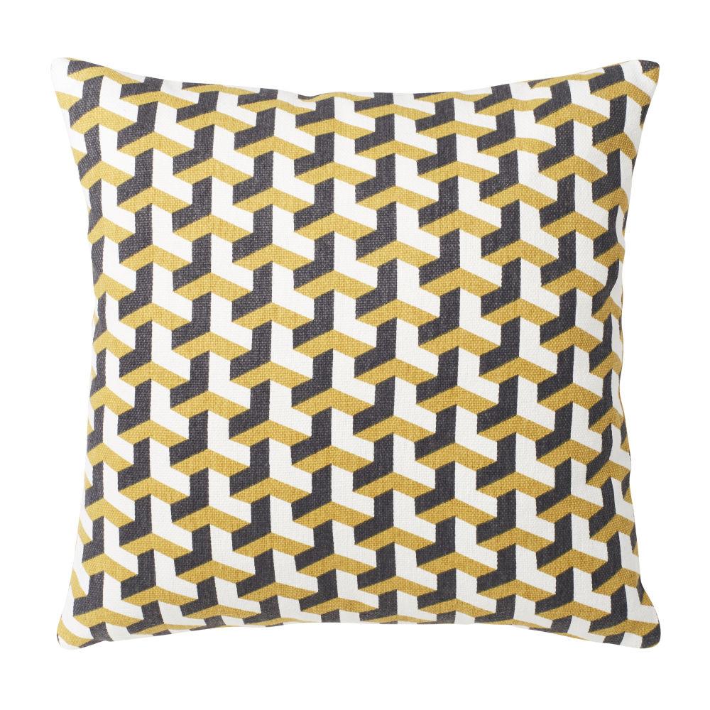 Coussin en coton motifs graphiques multicolores 45X45