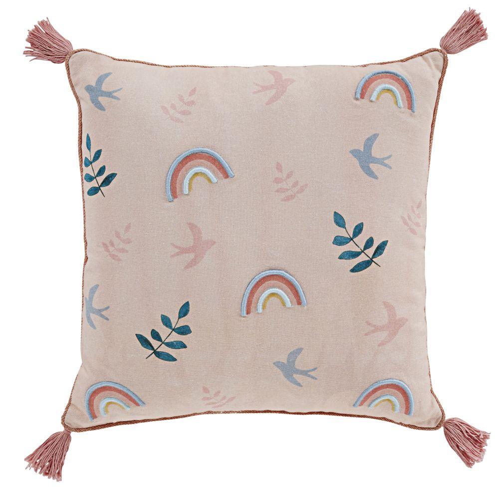 Coussin en coton multicolore imprimé à pompons 40x40