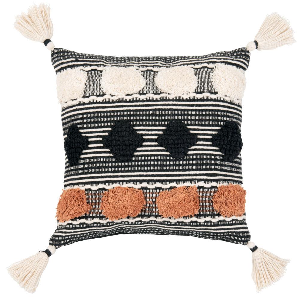 Coussin en coton noir, blanc et terracotta 45x45