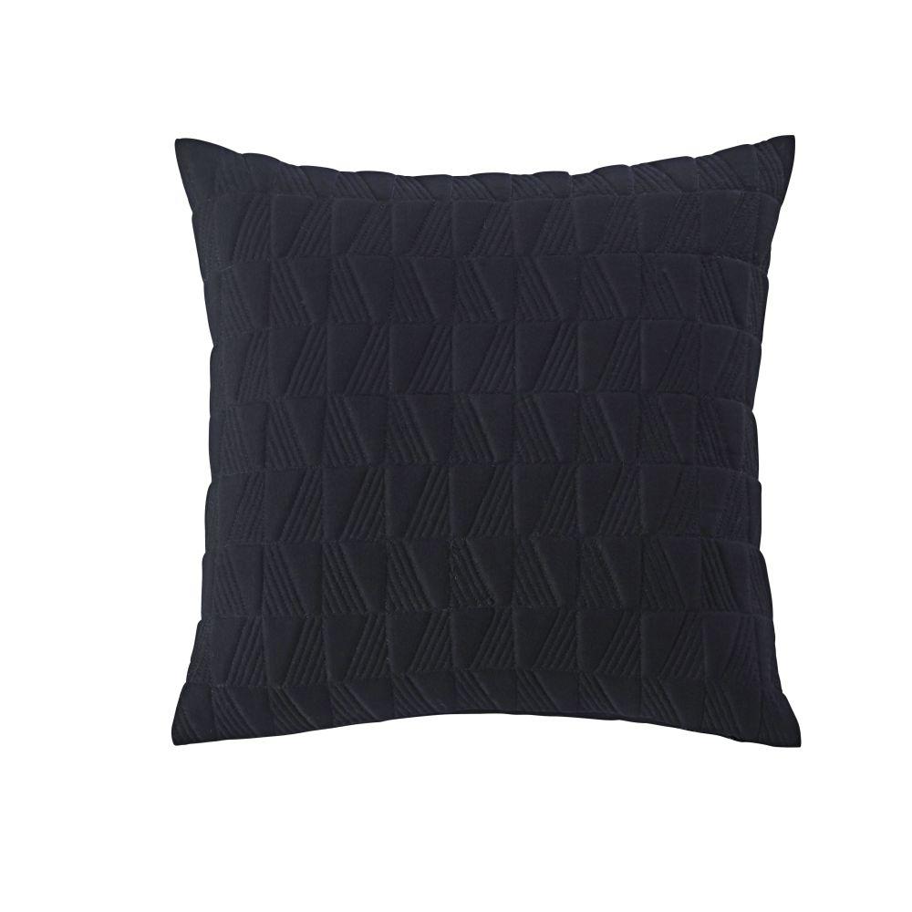 Coussin en coton noir effet molleton surpiqué 45x45