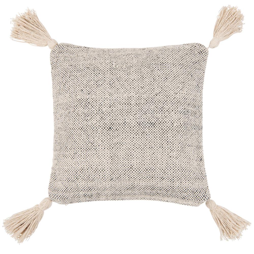 Coussin en coton noir et blanc à pompons 45x45