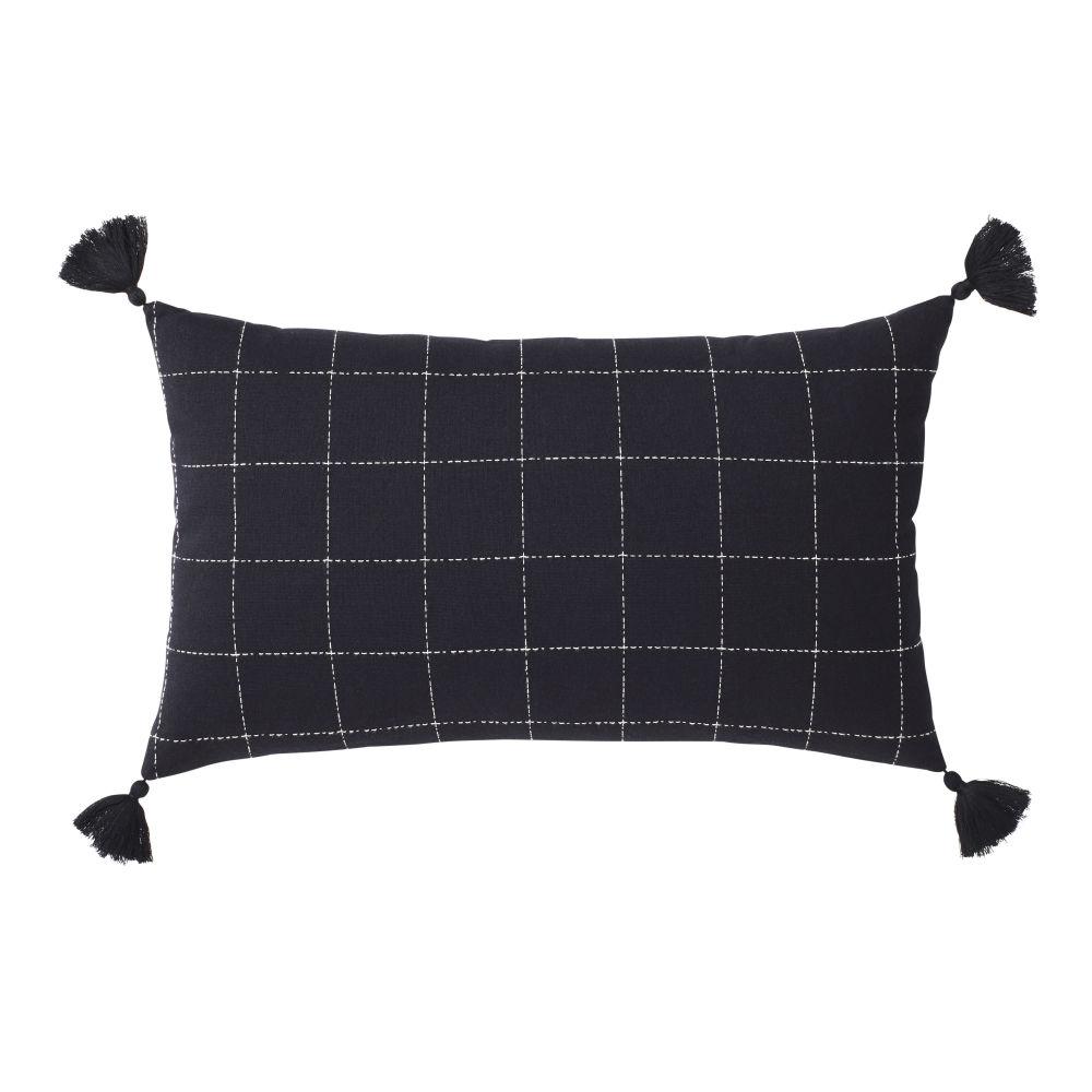 Coussin en coton noir motifs à carreaux blancs 30x50