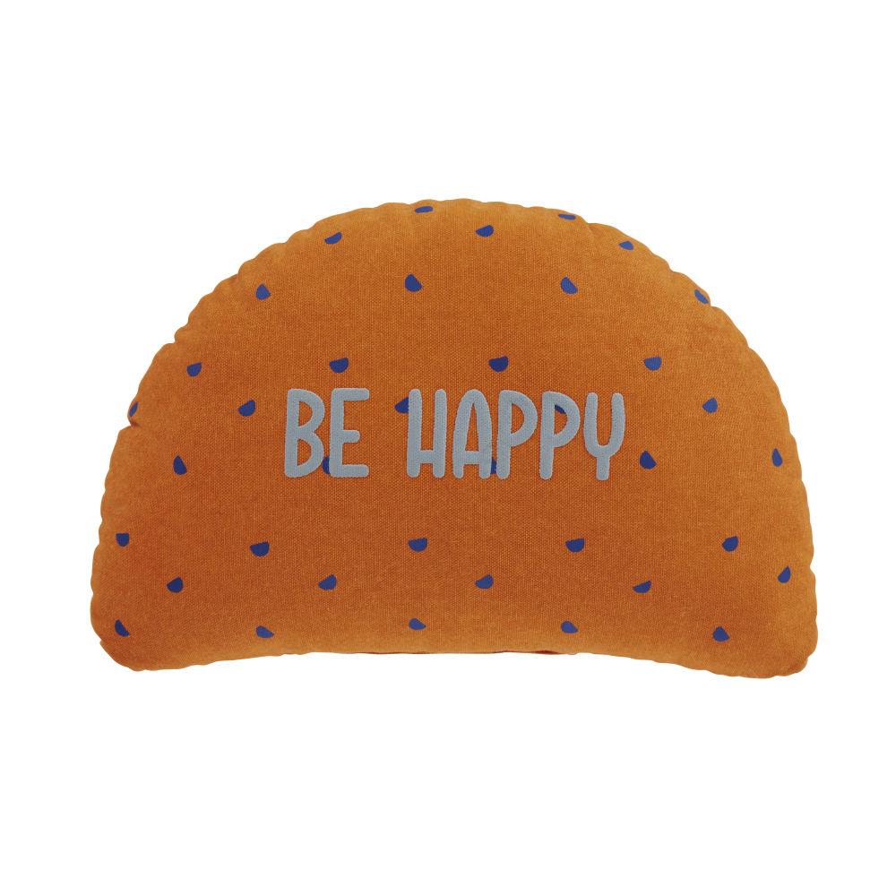 Coussin en coton orange et bleu à motifs 36x25