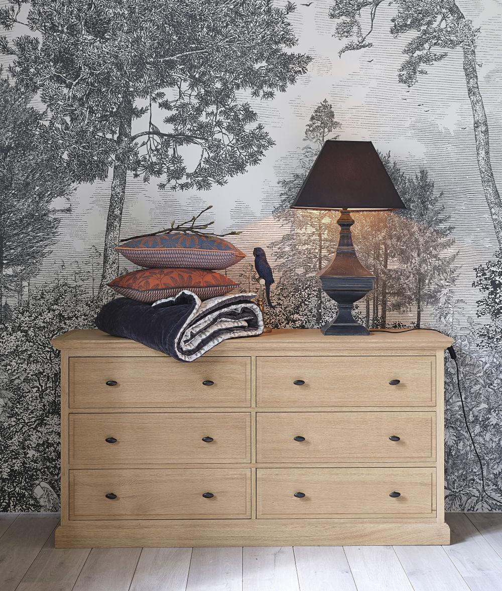Coussin en coton orange motifs brodés gris anthracite 45x45