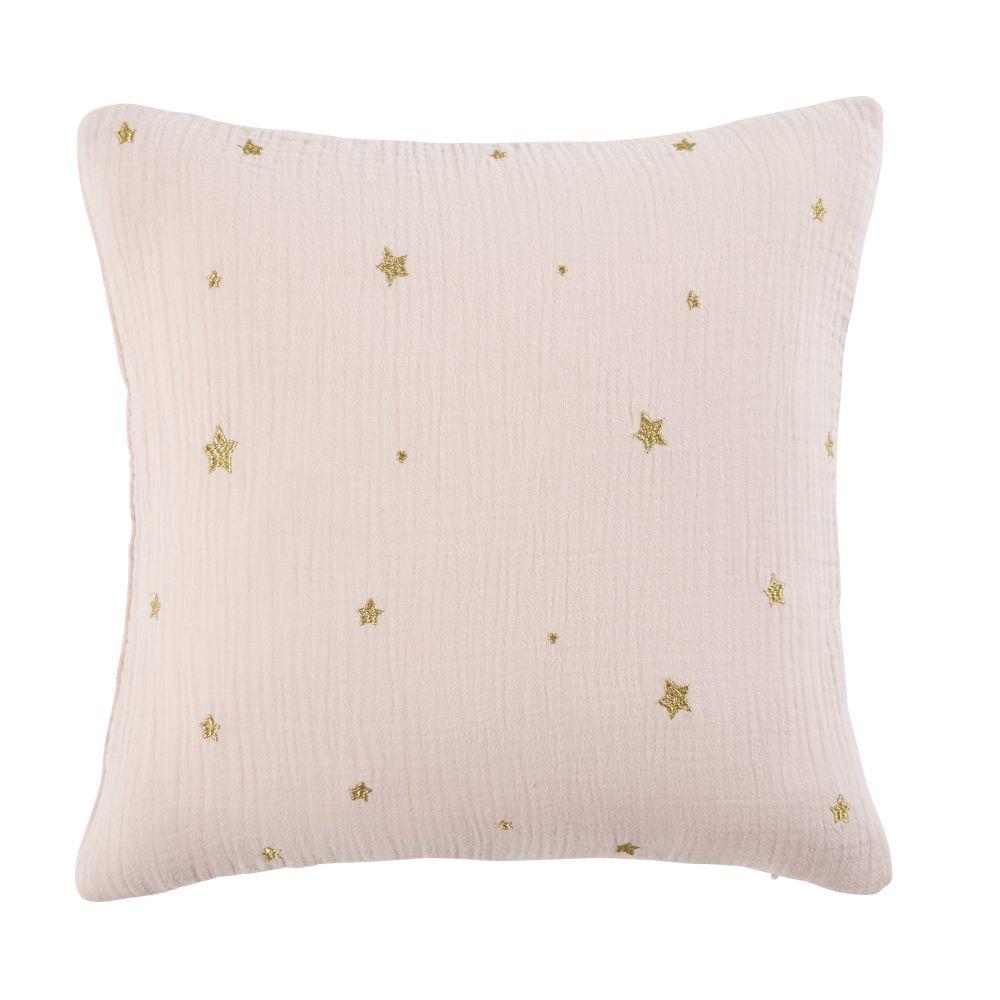 Coussin en coton rose imprimé étoiles dorées 35x35