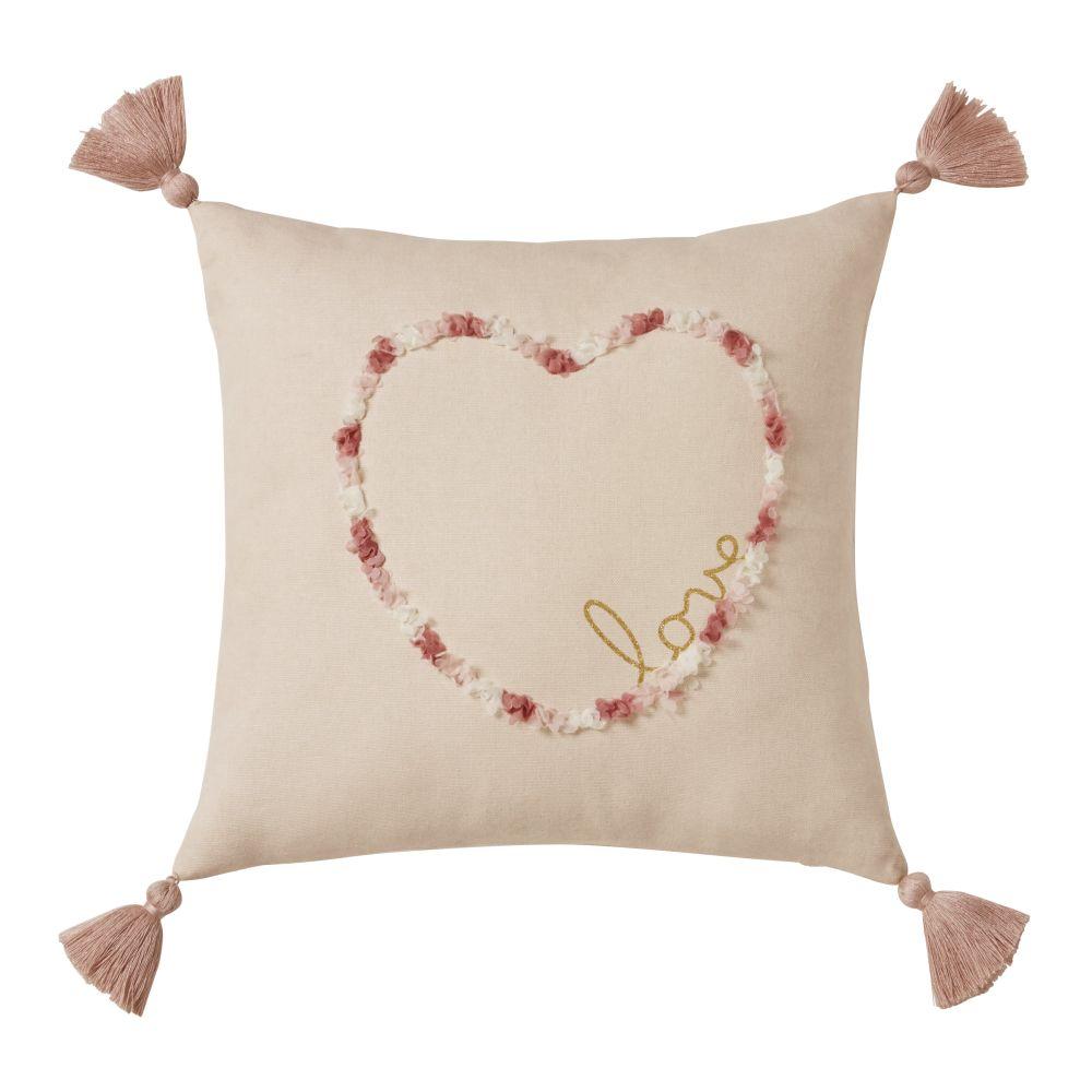 Coussin en coton rose motif cœur 35x35