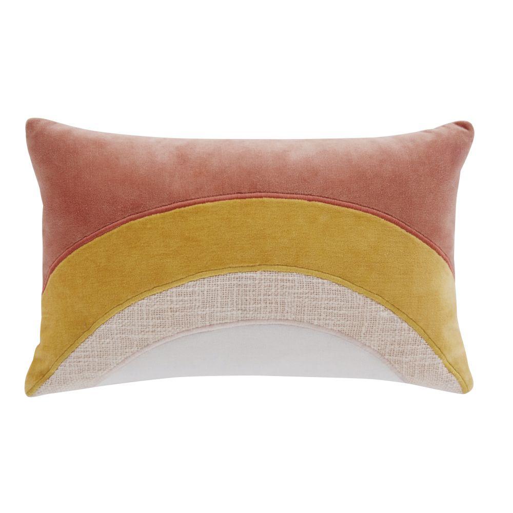 Coussin en coton tramé et velours de coton roses et jaune moutarde 25x40