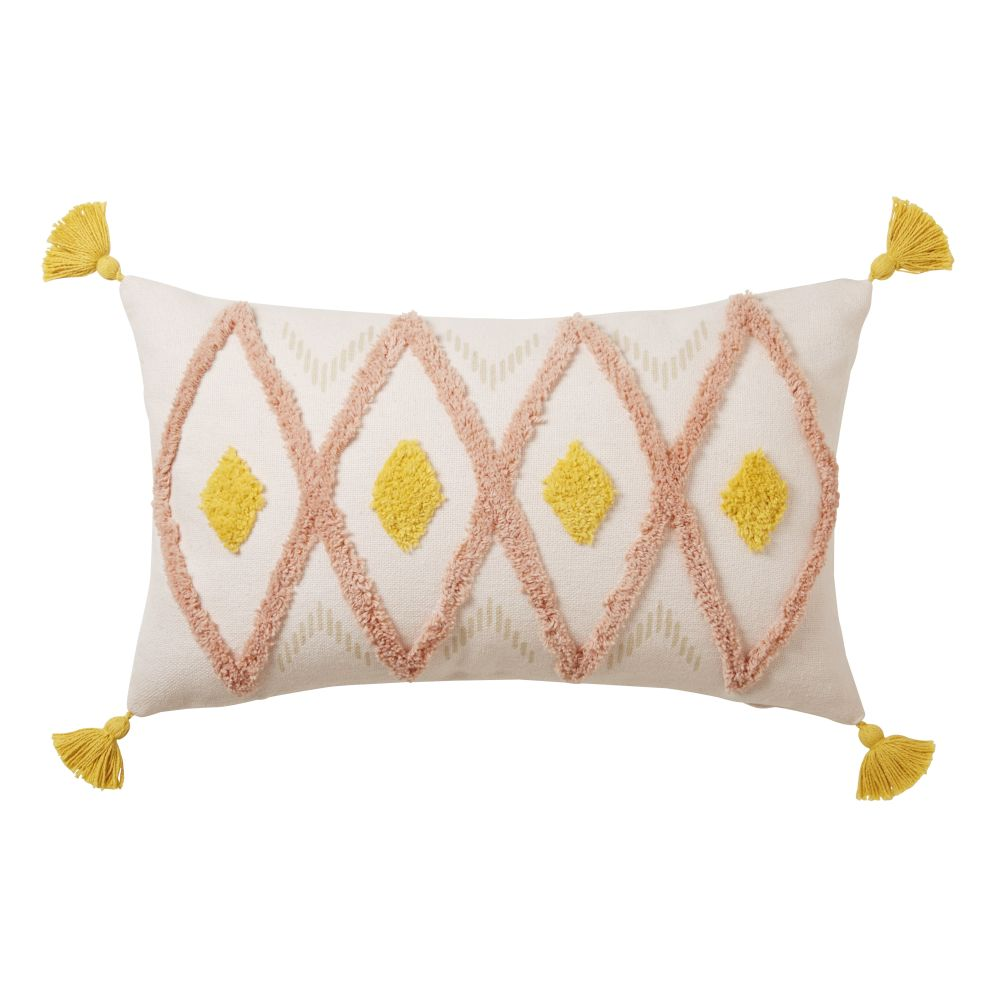 Coussin en coton tufté motifs graphiques à pompons 30x50