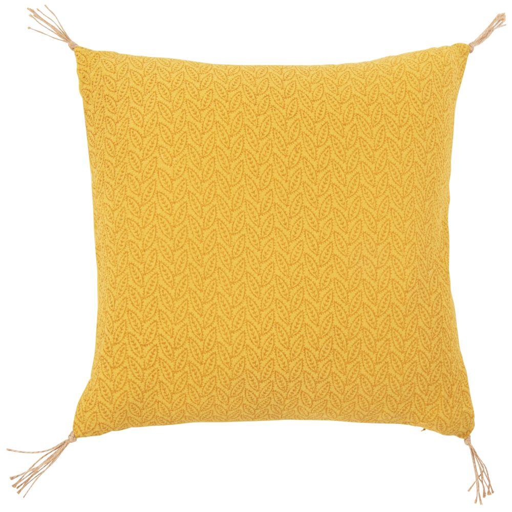 Coussin en gaze de coton motif feuillage jaune 45x45