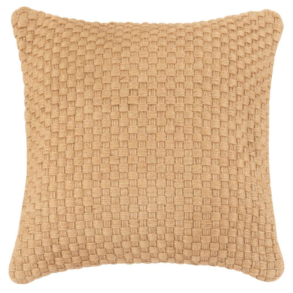 Coussin en jute et coton marron et beige 45x45