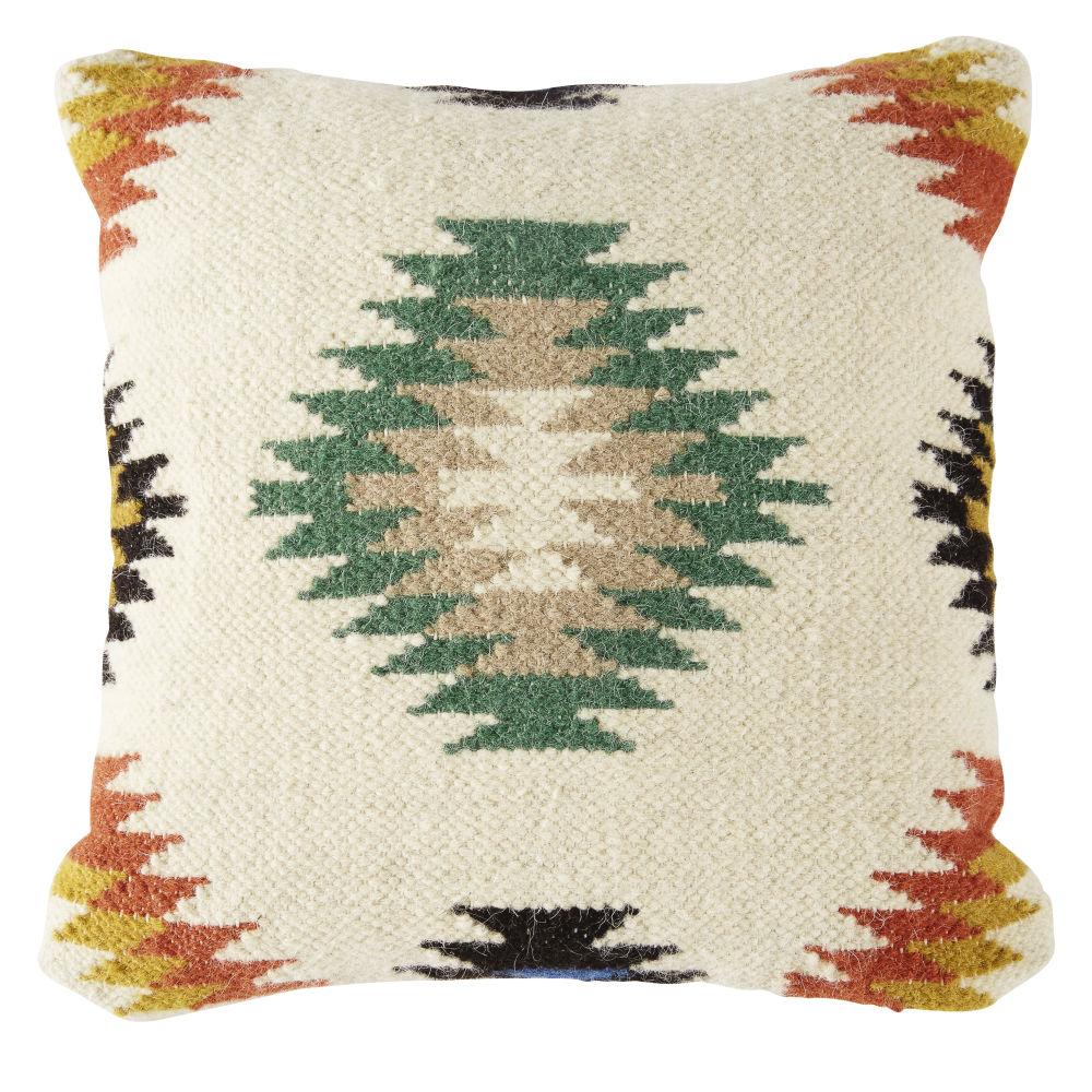 Coussin en laine tissée écrue motifs graphiques 45x45