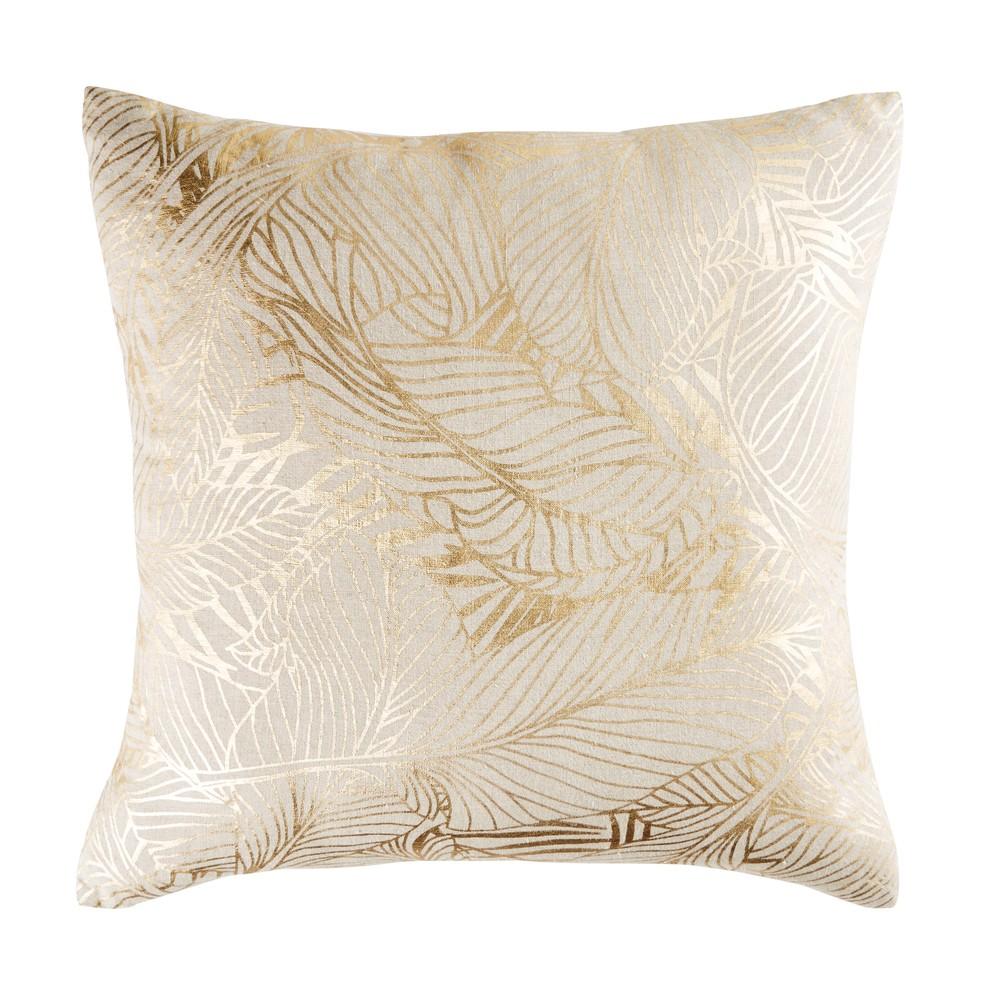 Coussin en lin beige motifs graphiques dorés 50x50