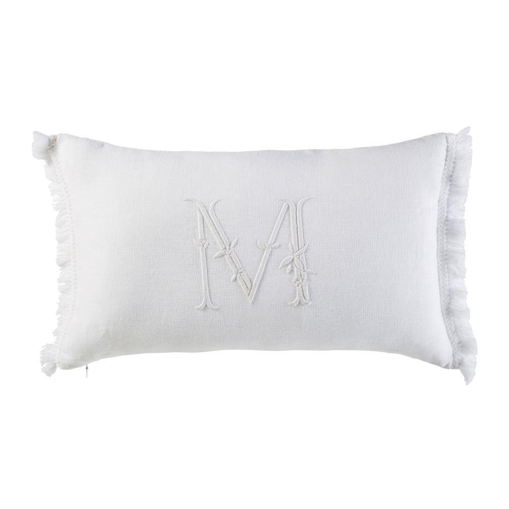 Coussin en lin blanc lettre brodée à franges 30x50