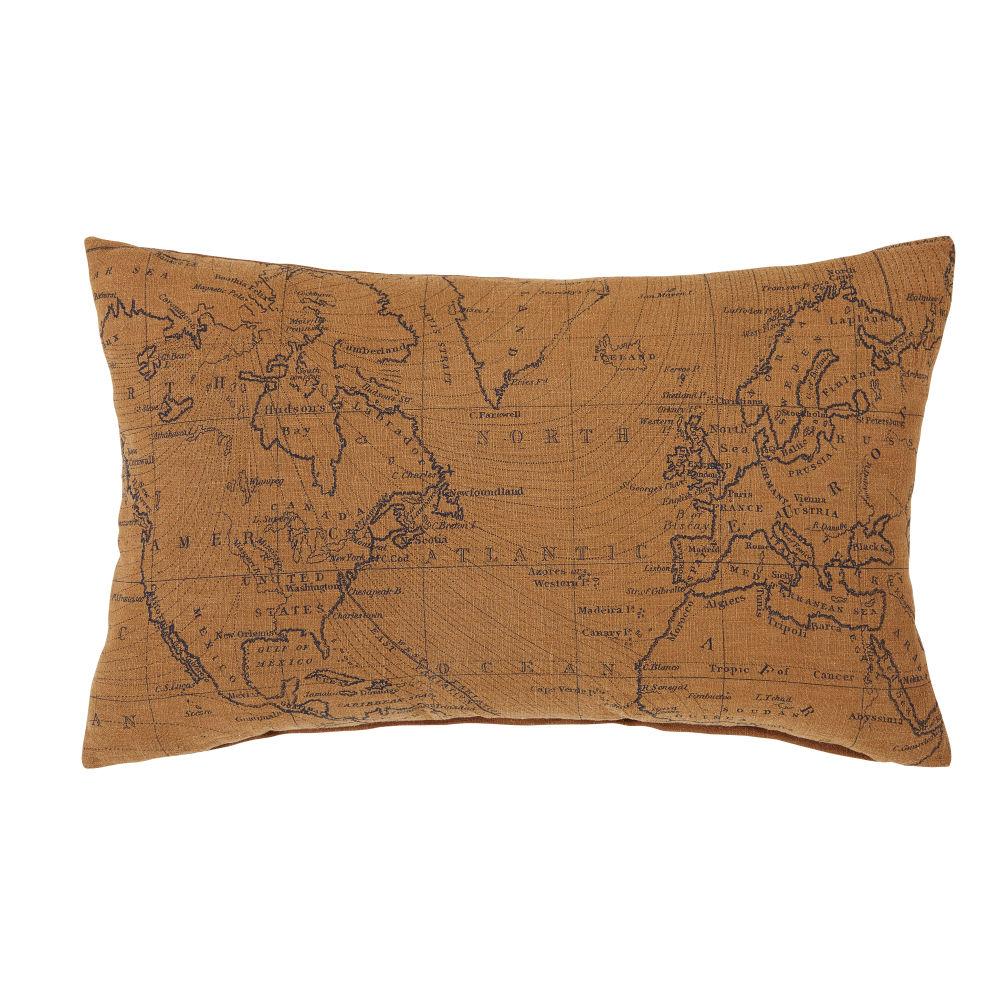 Coussin en lin et coton gris anthracite et marron imprimé mappemonde 30x50