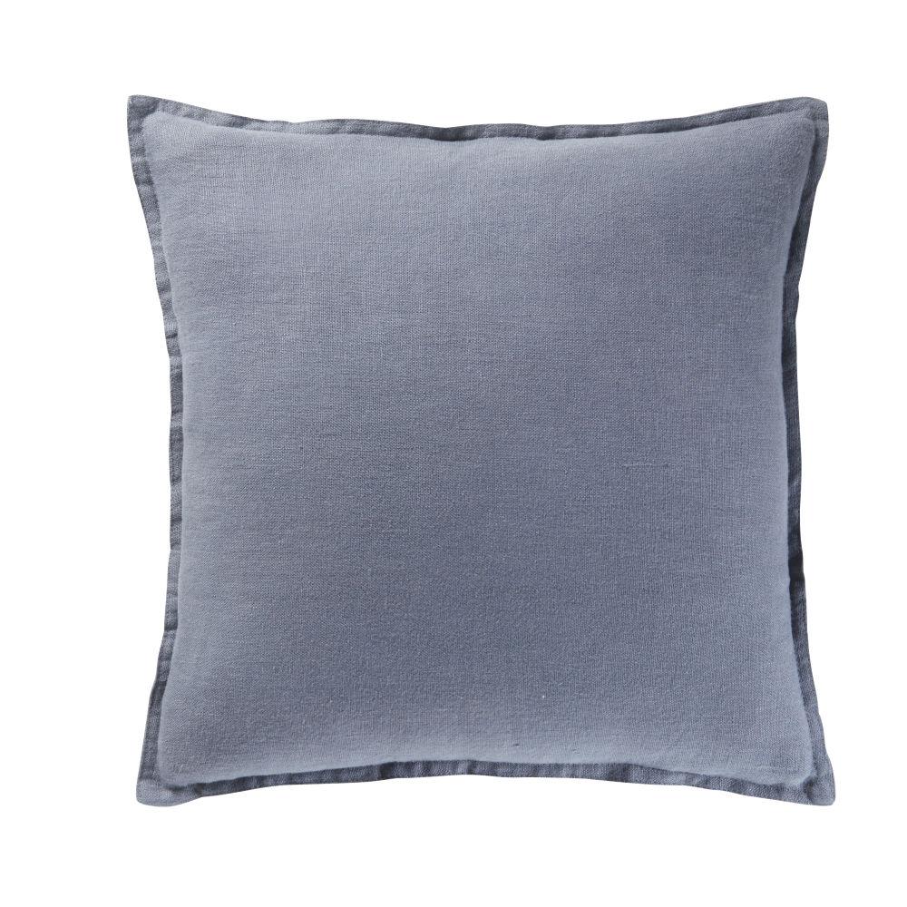Coussin en lin lavé bleu 45x45