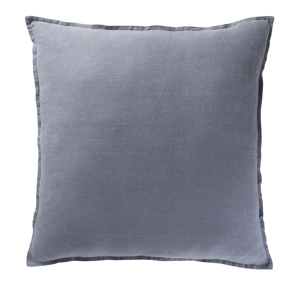 Coussin en lin lavé bleu 60x60