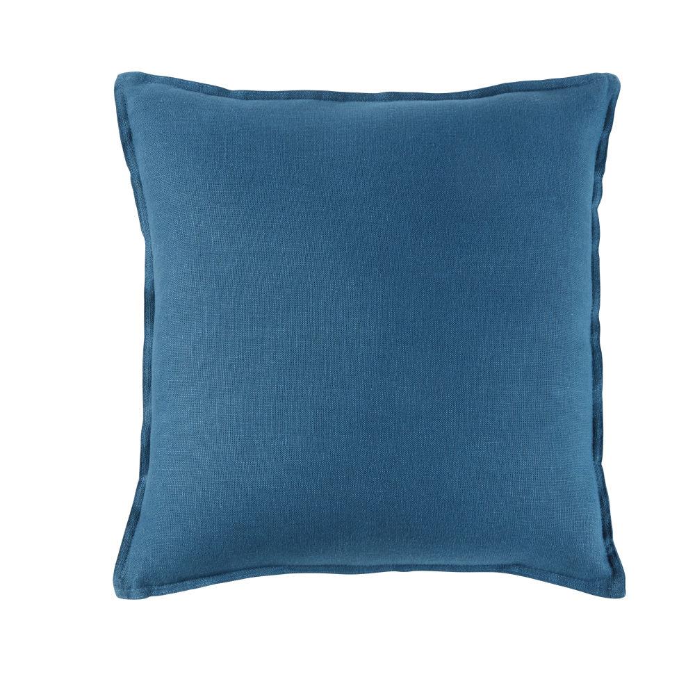 Coussin en lin lavé bleu paon 60x60