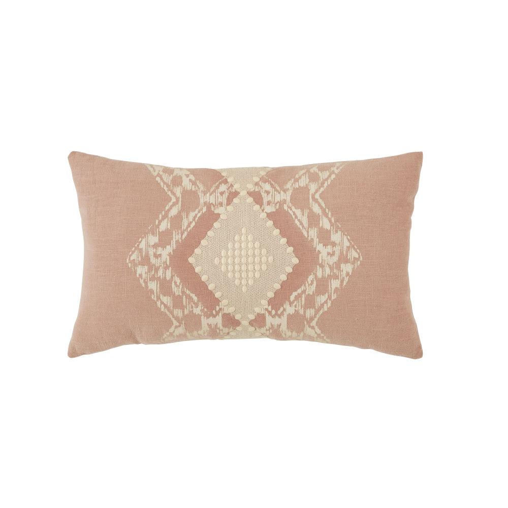 Coussin en lin lavé et coton roses et beiges imprimé tie and dye 30x50