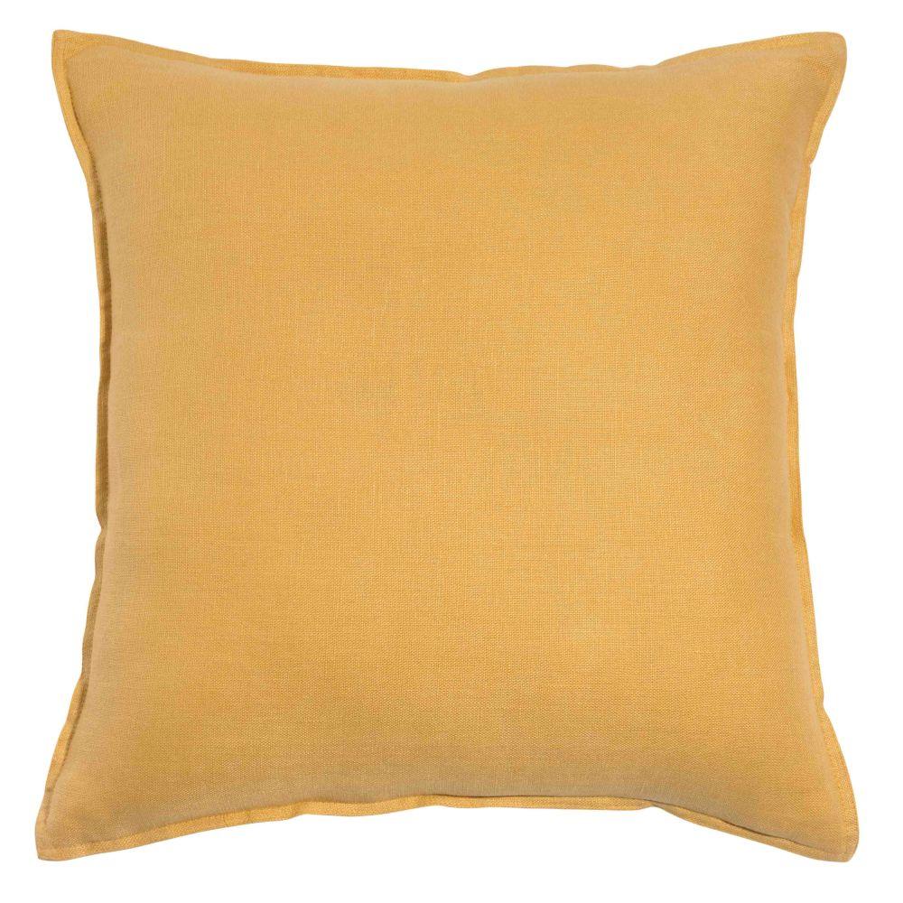 Coussin en lin lavé jaune 45x45