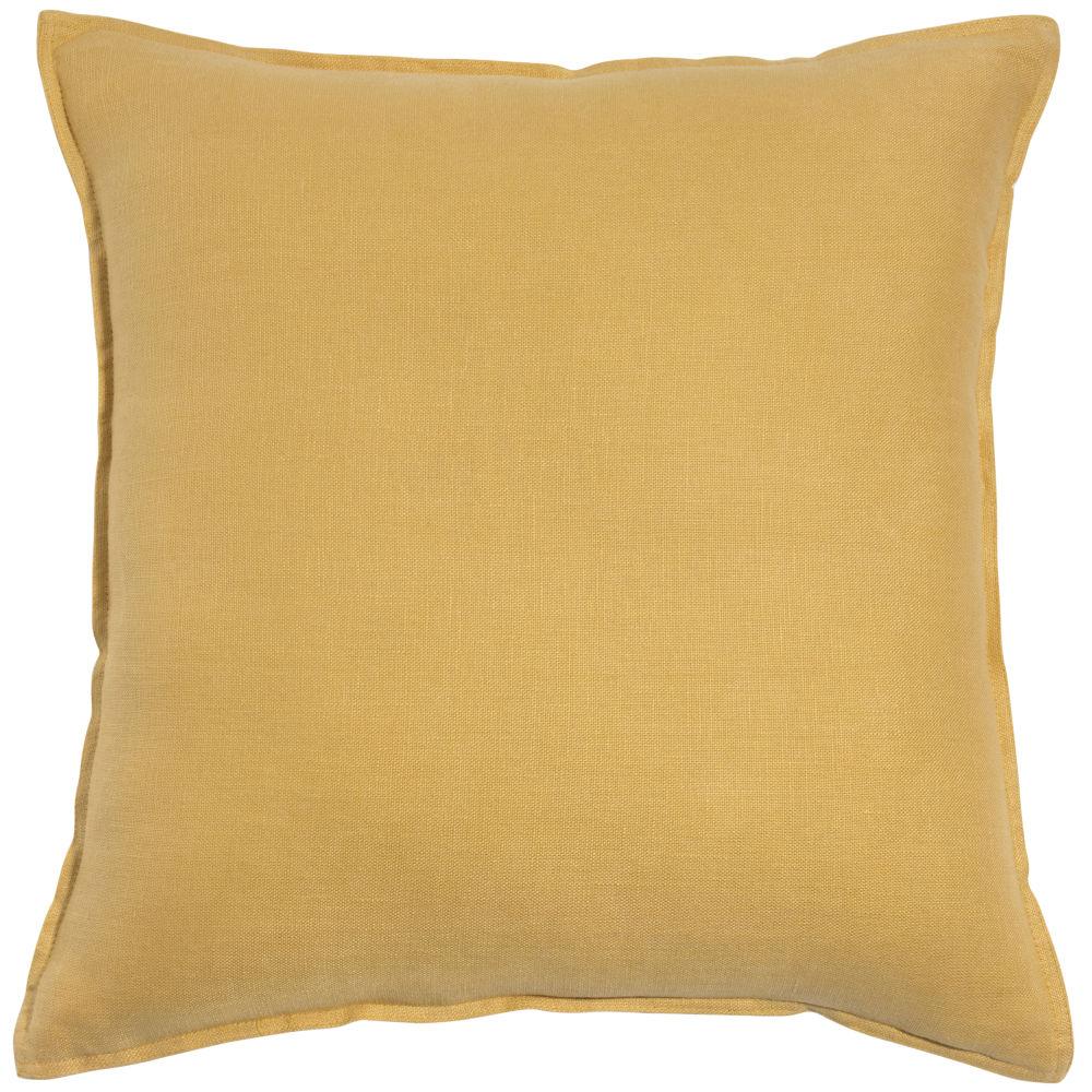 Coussin en lin lavé jaune 60x60