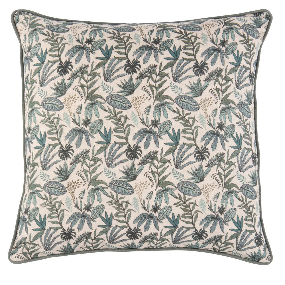 Coussin en lin lavé motif végétal 45x45