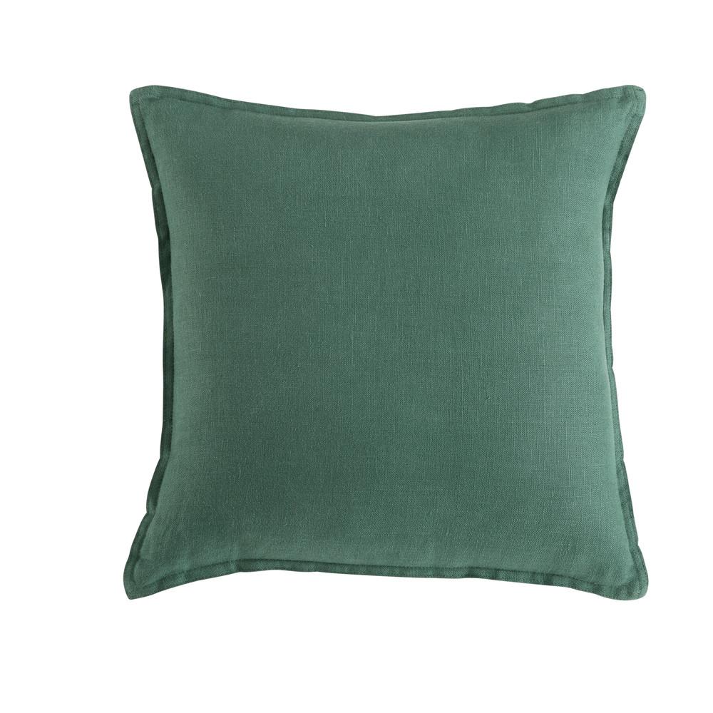 Coussin en lin lavé vert basilic 45x45