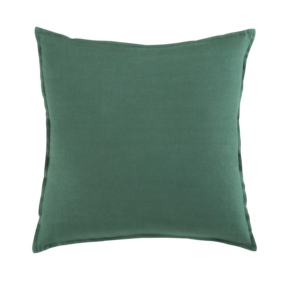 Coussin en lin lavé vert basilic 60x60