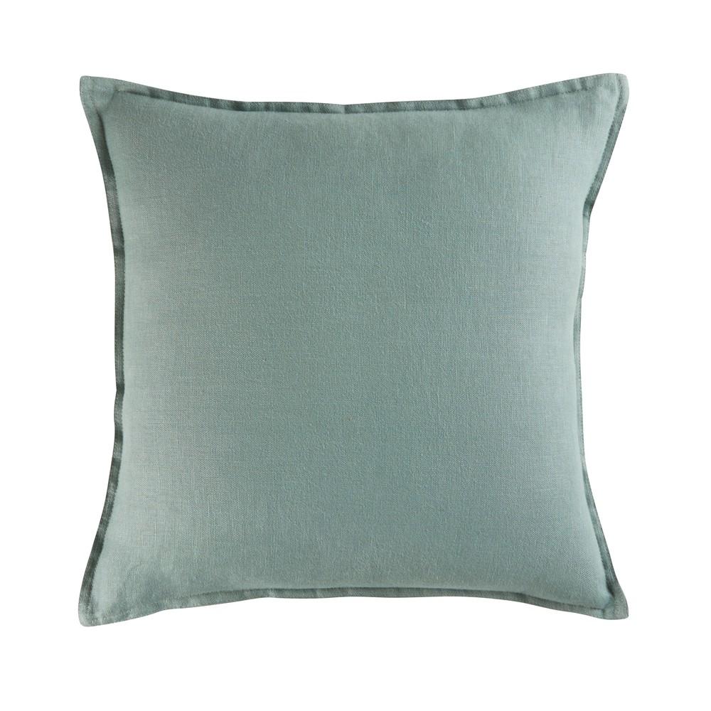 Coussin en lin lavé vert de gris 45x45