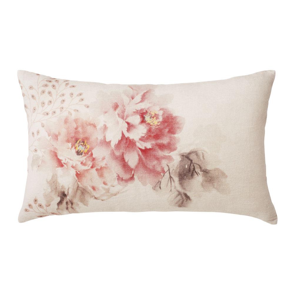 Coussin en lin rose imprimé floral 30x50