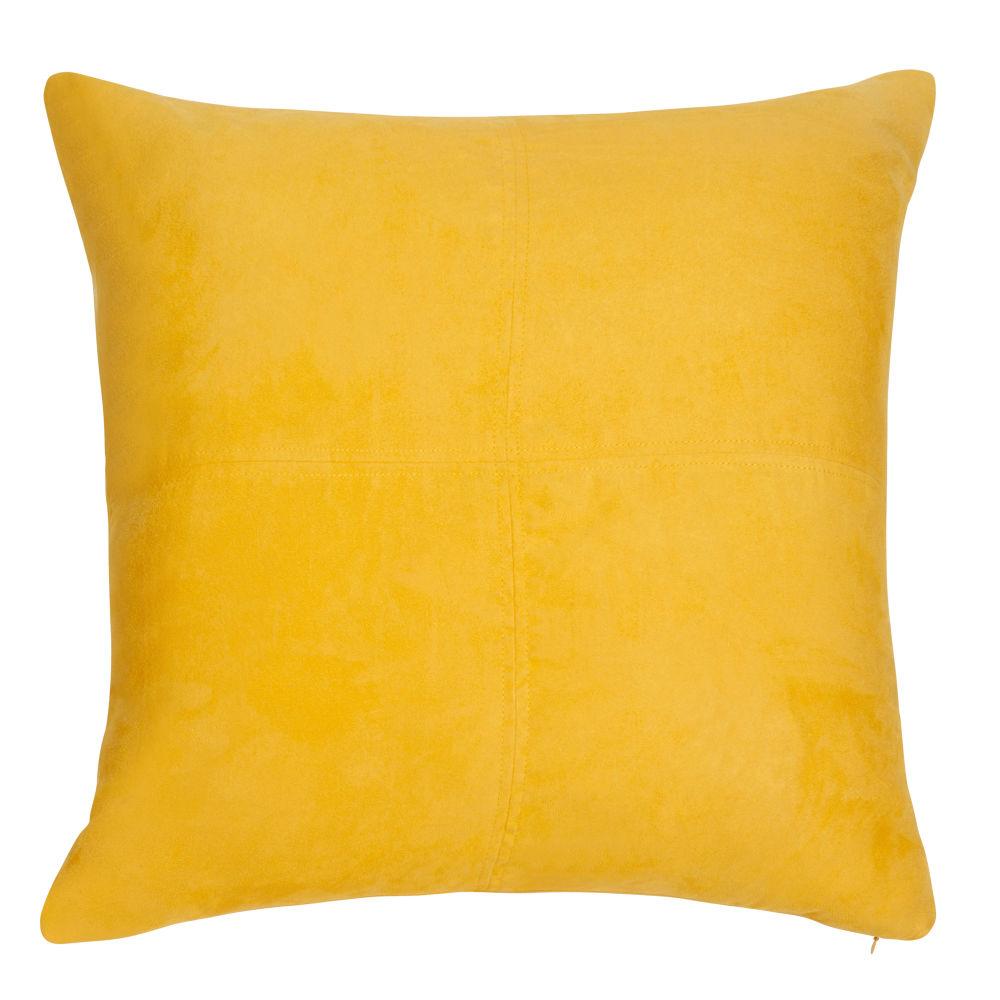 Coussin en suédine jaune 60x60