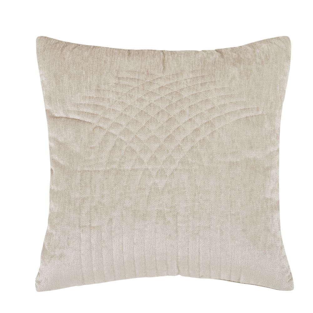 Coussin en velours beige motifs brodés 45x45