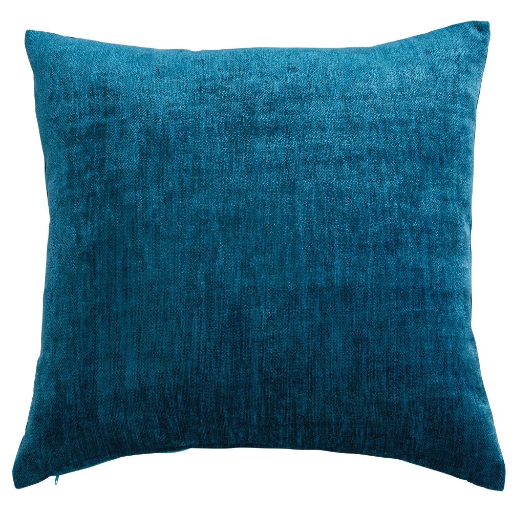 Coussin en velours bleu canard 60x60