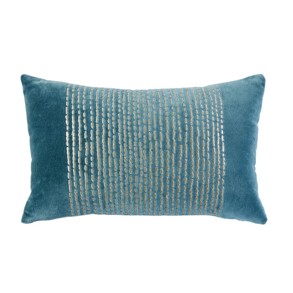 Coussin en velours bleu canard motifs graphiques dorés 25x40