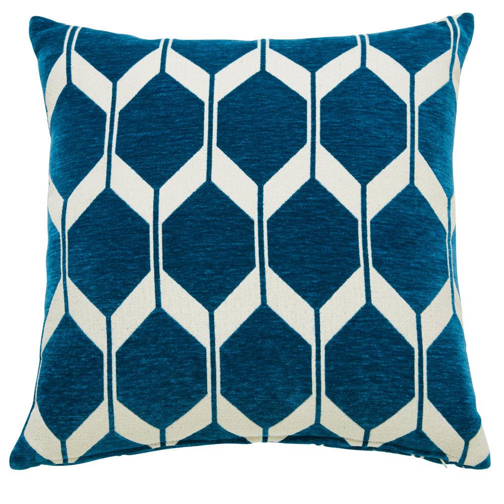 Coussin en velours bleu canard motifs jacquard 60x60