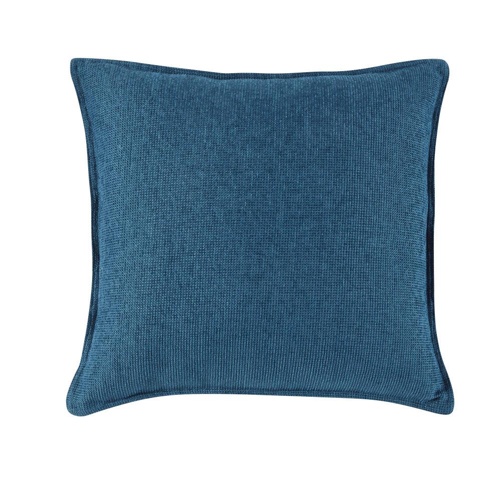Coussin en velours bleu paon 45x45