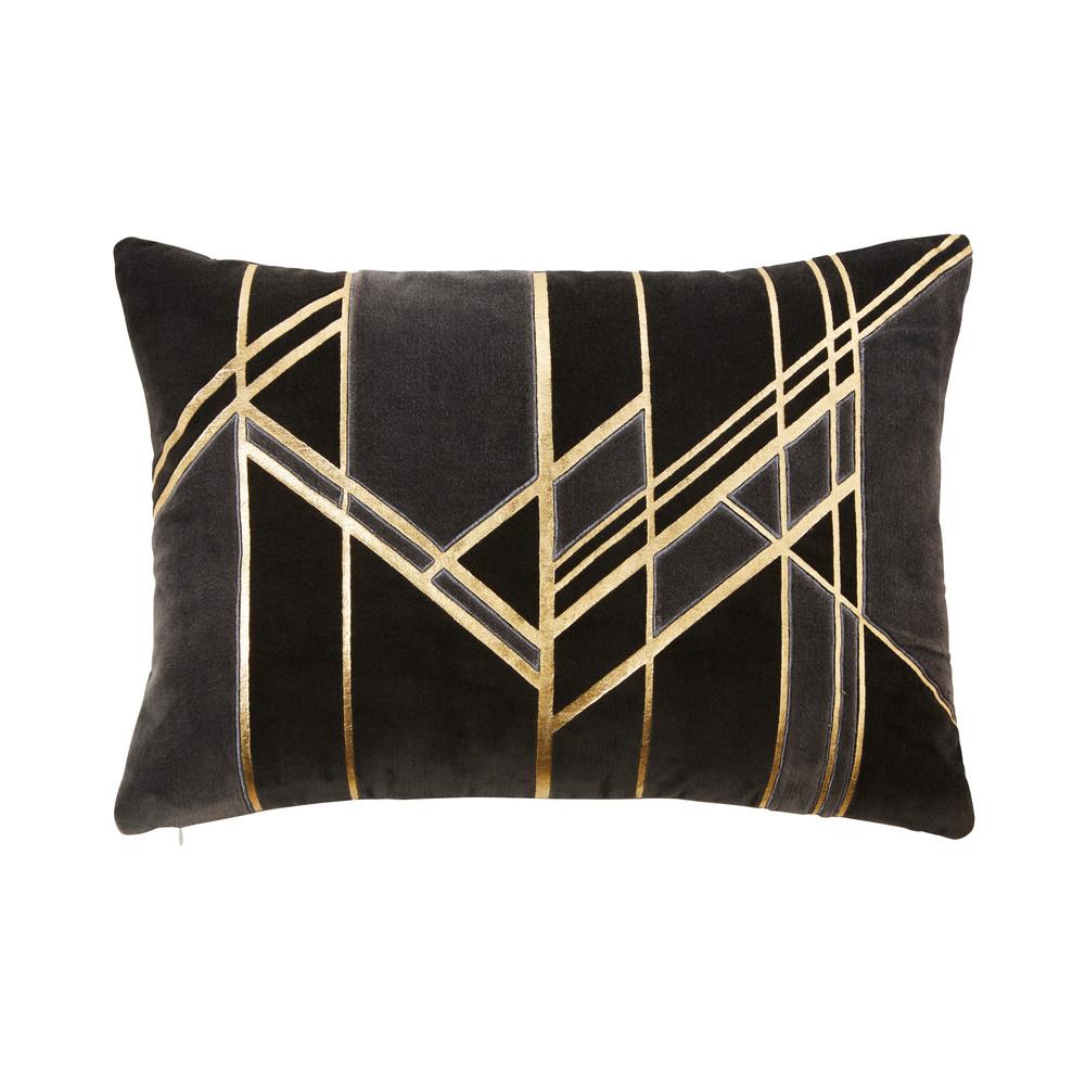 Coussin en velours gris motifs graphiques dorés 35x50