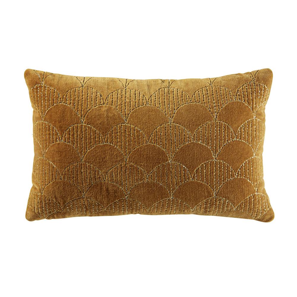 Coussin en velours jaune moutarde motifs graphiques dorés 25x40