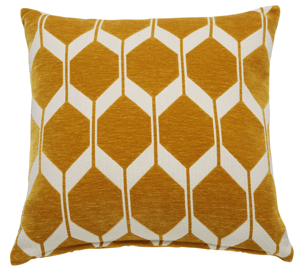 Coussin en velours jaune moutarde motifs jacquard 60x60