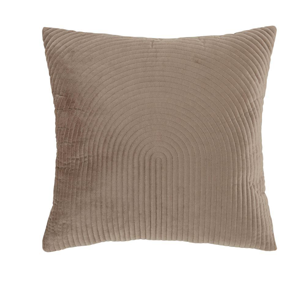 Coussin en velours marron glacé avec motifs brodés argentés 45x45