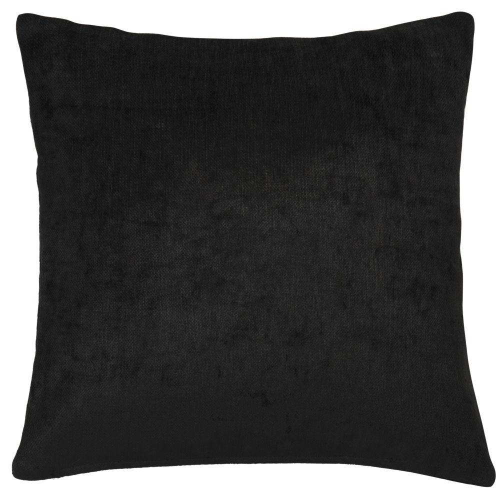 Coussin en velours noir 60x60