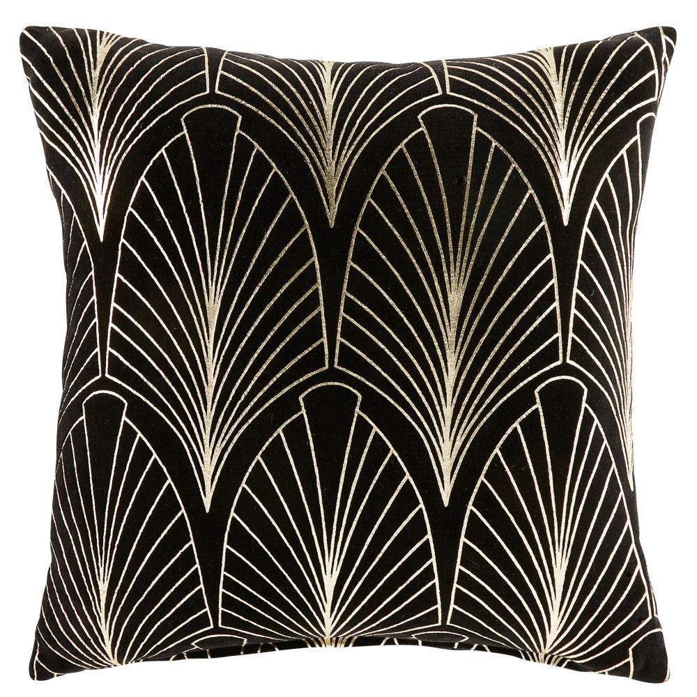 Coussin en velours noir motifs graphiques dorés 45x45