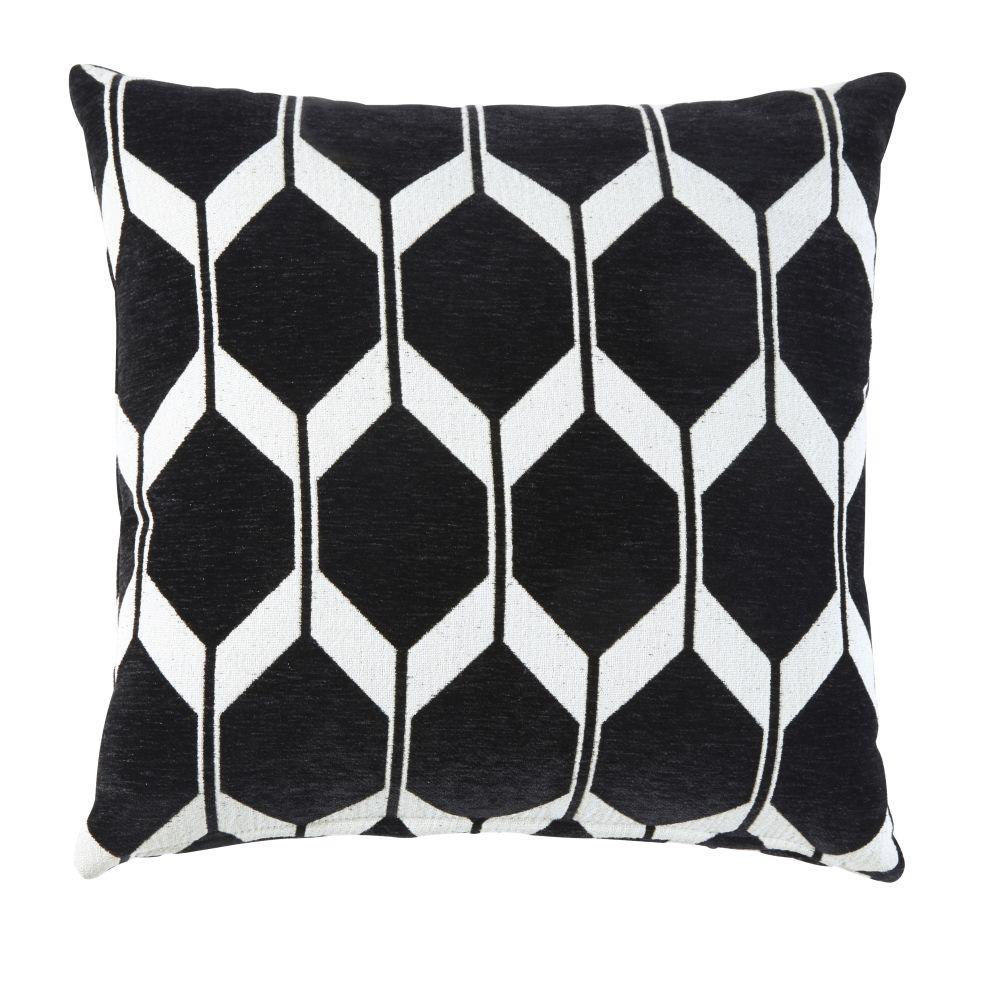 Coussin en velours noir motifs jacquard 45x45