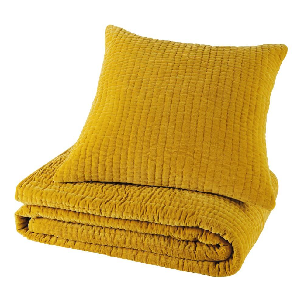 Coussin en velours piqué jaune moutarde 60 x 60 cm