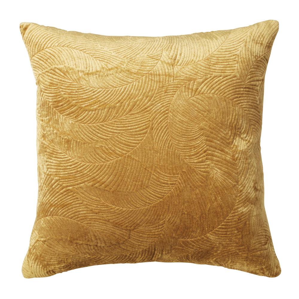 Coussin en velours piqué motifs plumes jaune moutarde 45x45