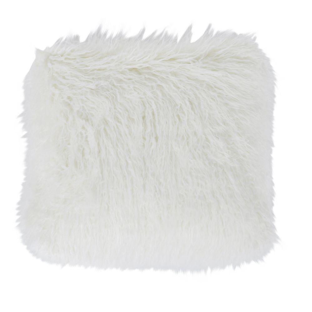 Coussin imitation fourrure de Mongolie blanche 45x45