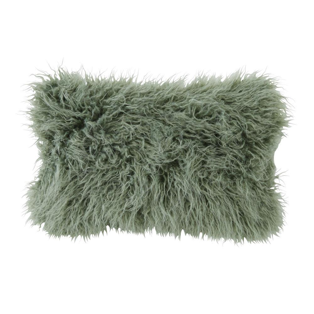 Coussin imitation fourrure de Mongolie vert kaki 30x50